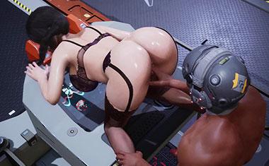 堕落的女秘书,性感的翘臀被机器人虐待性交到高潮